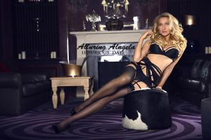 Blonde tall escort in black lingerie