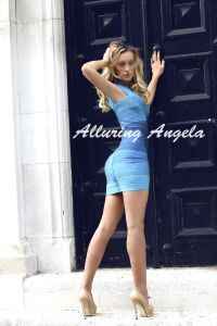 Russian blonde escort in blue dress and nude shoes